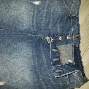 High waisted button up jean shorts